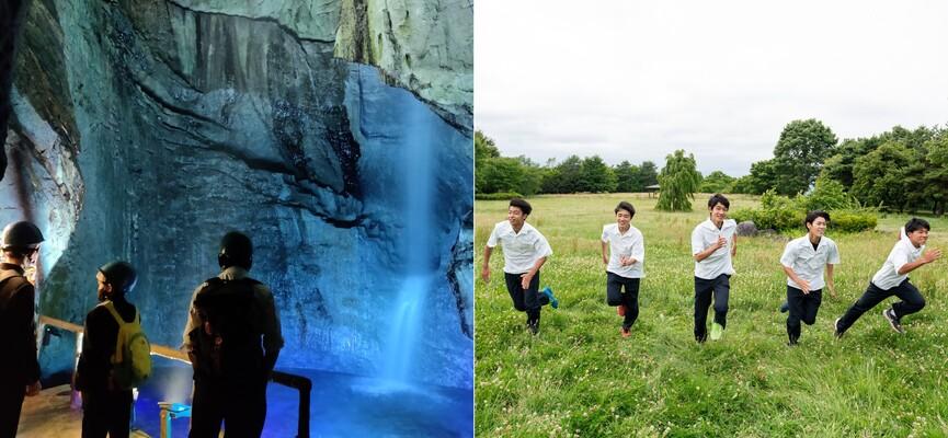 左:課外授業で果物を採取する生徒。右:授業を受ける生徒の横顔。